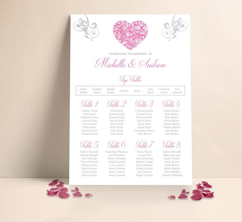 Blush Heart Wedding Table plan Seating Planner , Sienna Mai Personalised Wedding Invitations