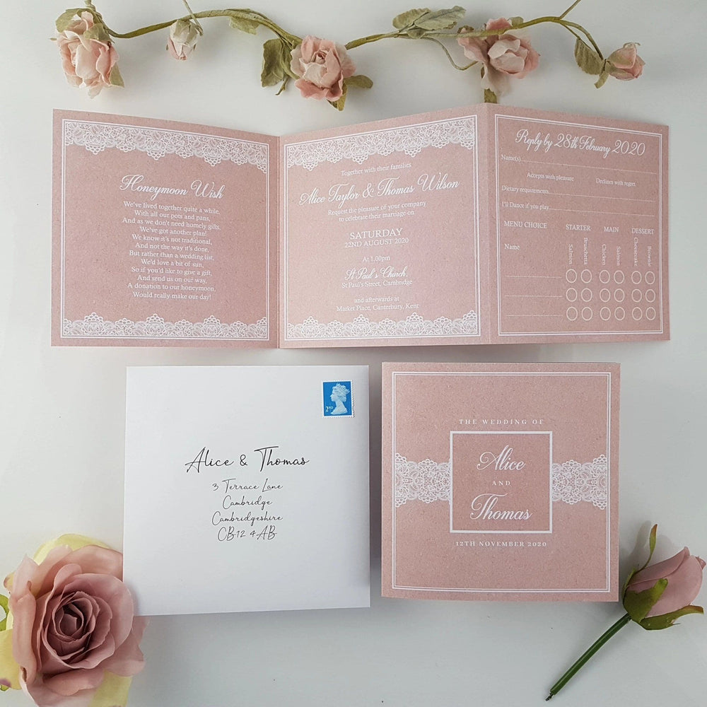 Blush Lace , Sienna Mai Personalised Wedding Invitations
