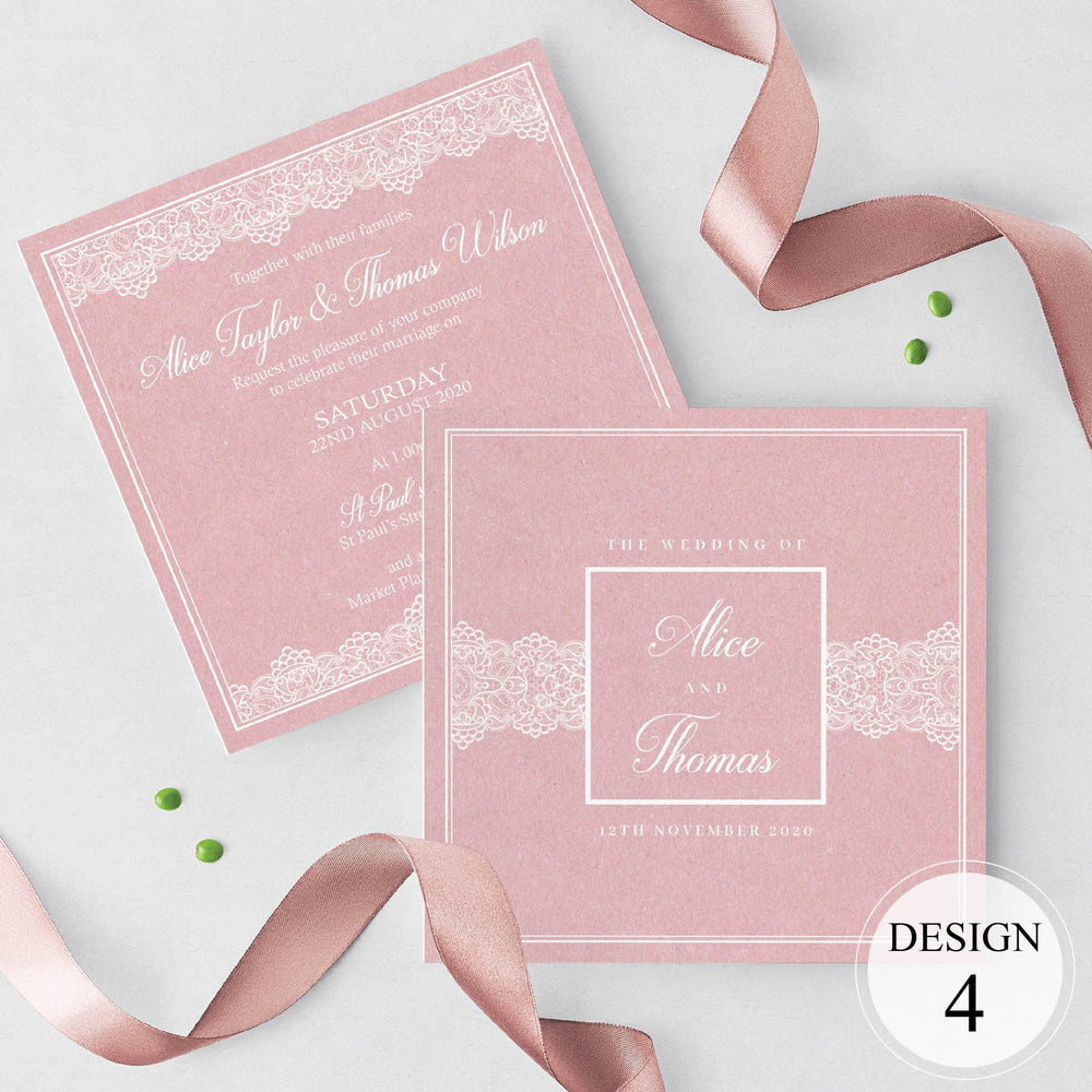 Blush Lace Wedding Invitations