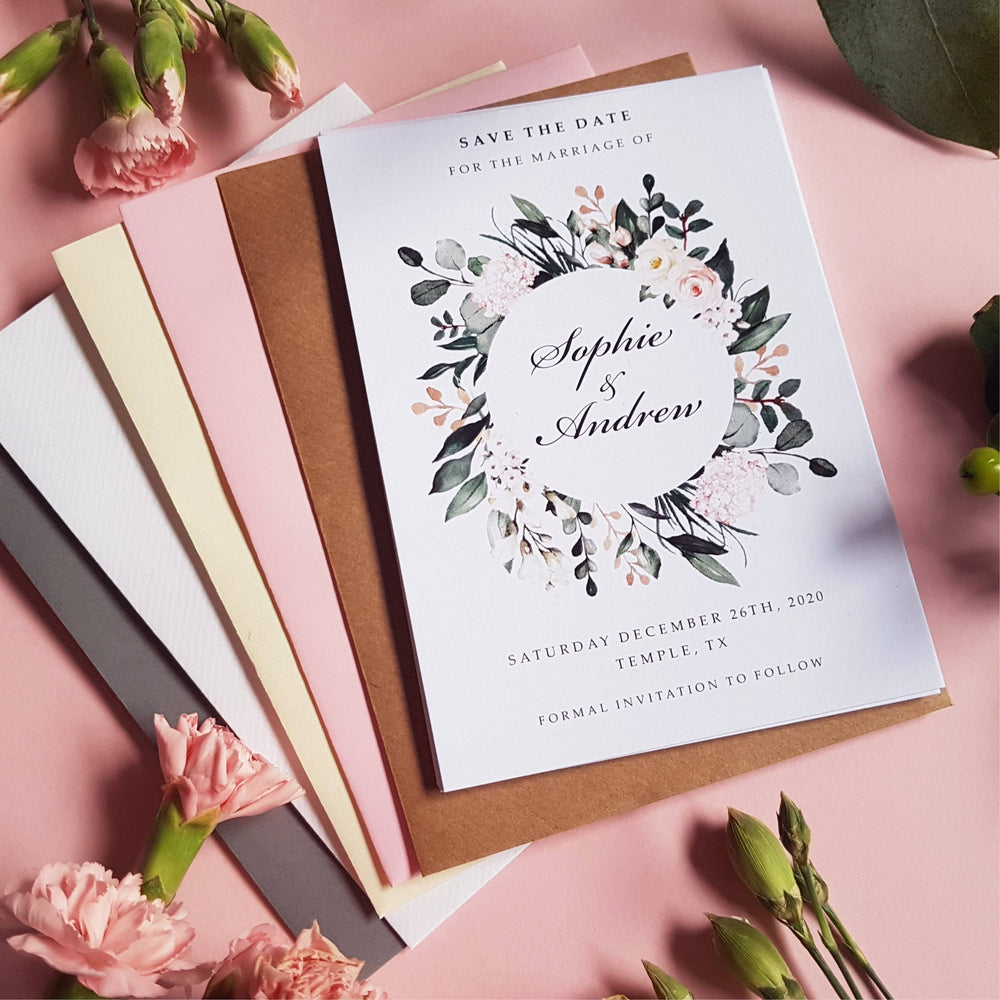 Blush White Wild Floral & Greenery Wedding Invitations , Sienna Mai Personalised Wedding Invitations