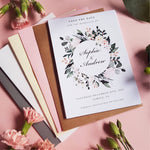 Blush wild floral save the date cards , Sienna Mai Personalised Wedding Invitations