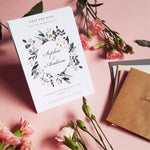 Blush wild floral save the date cards