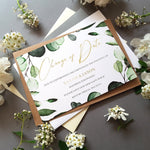 Botanical change of date cards , Sienna Mai Personalised Wedding Invitations
