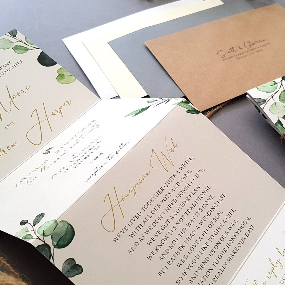 Botanical Concertina , Sienna Mai Personalised Wedding Invitations