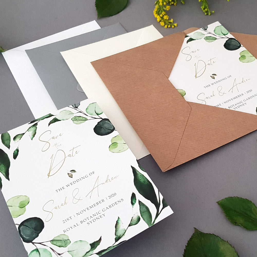 Botanical Save the Date Cards , Sienna Mai Personalised Wedding Invitations