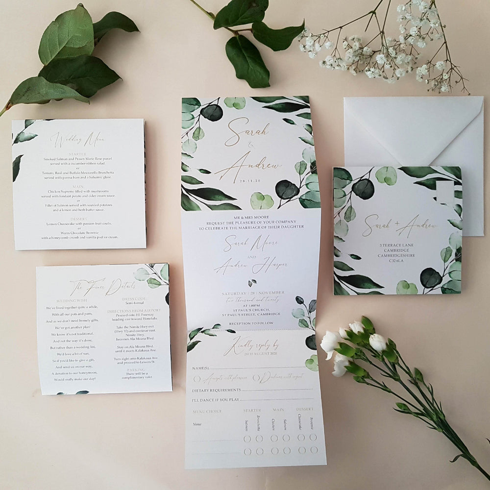 Botanico Botanical Trifold Wedding Invitations