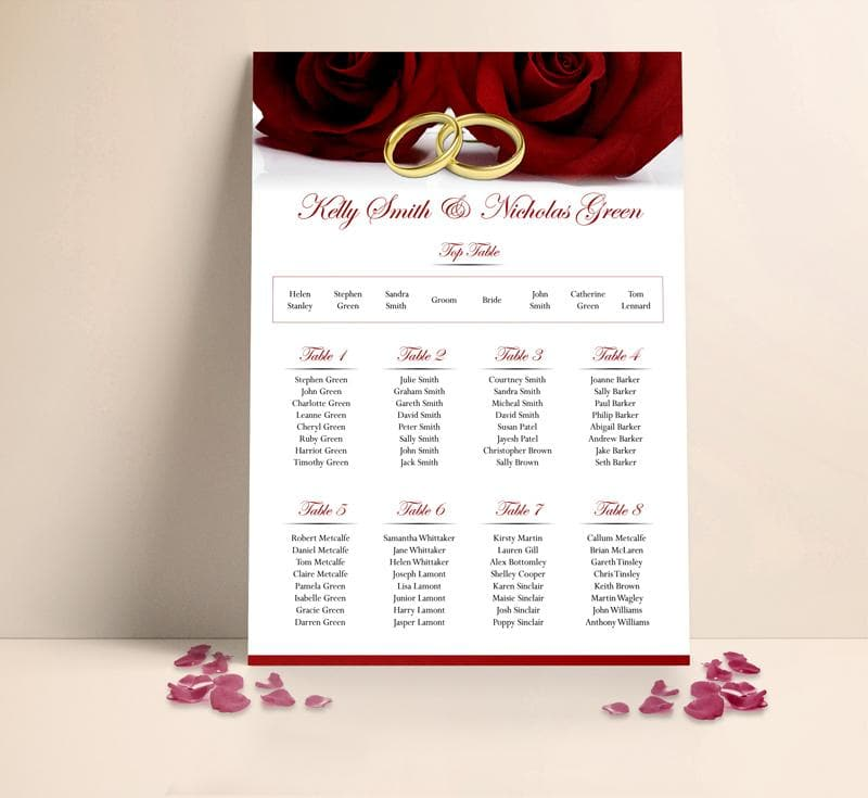 Burgundy Roses Gold Rings Wedding Table plan Seating Planner , Sienna Mai Personalised Wedding Invitations