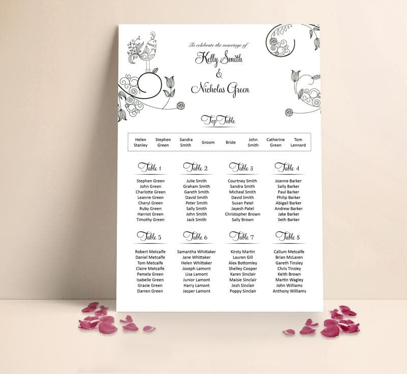 Classic Bird Wedding Table plan Seating Planner , Sienna Mai Personalised Wedding Invitations
