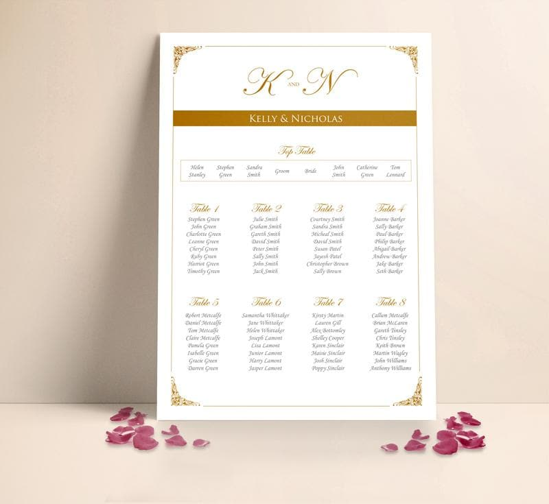 Classic Gold Wedding Table plan Seating Planner , Sienna Mai Personalised Wedding Invitations
