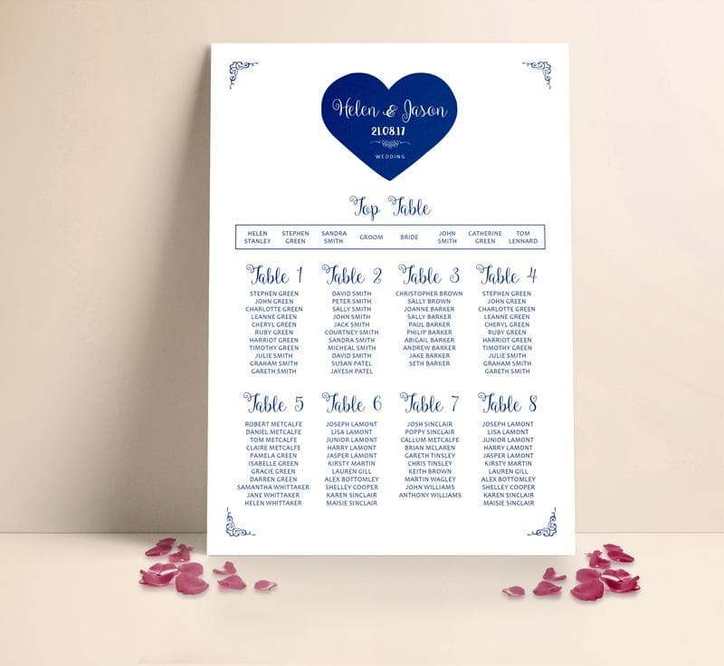 Classic Heart Wedding Table plan Seating Planner , Sienna Mai Personalised Wedding Invitations