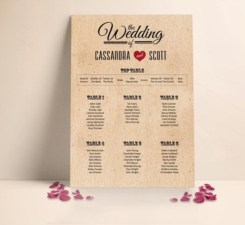 Classic Vintage Heart Wedding Table plan Seating Planner , Sienna Mai Personalised Wedding Invitations