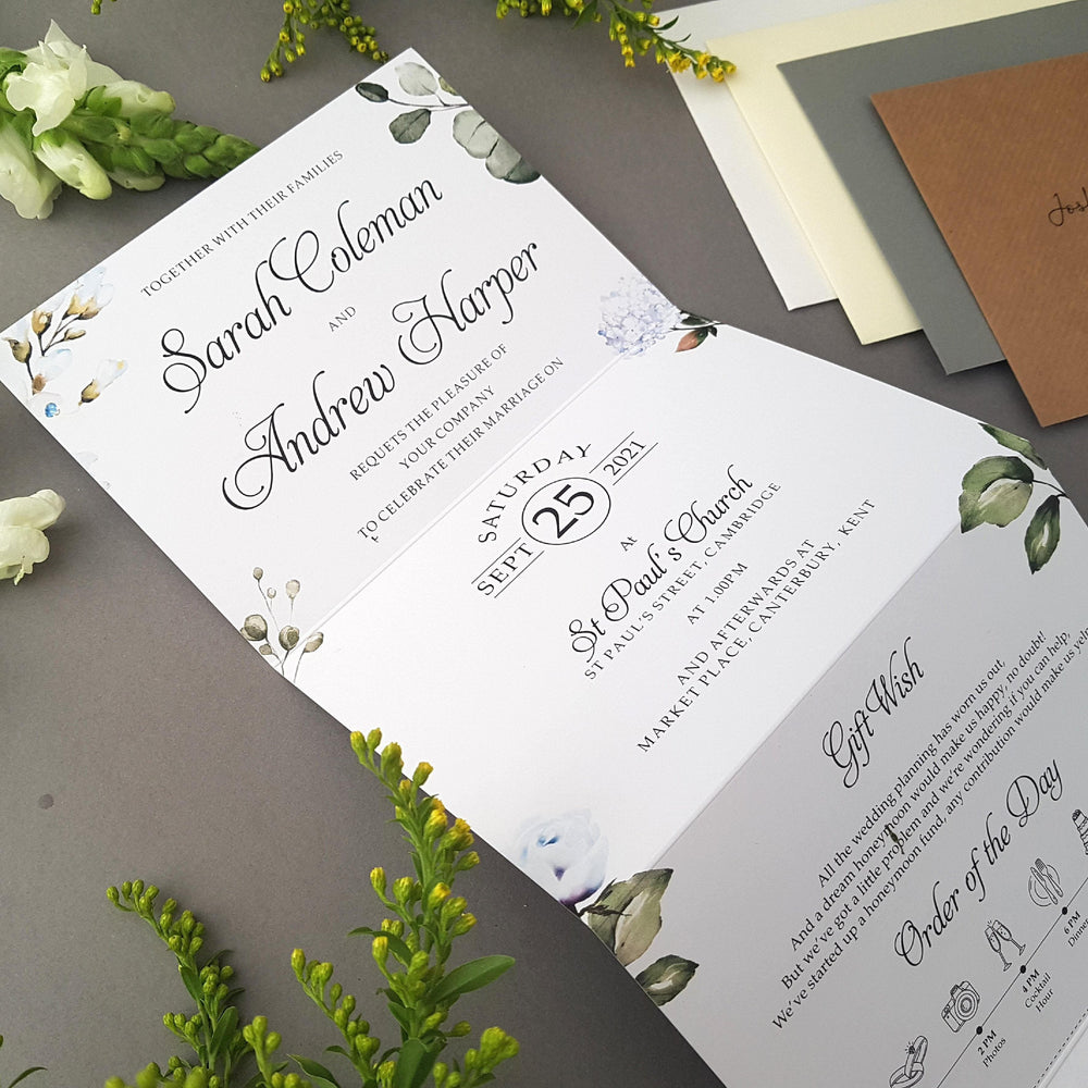 Cornflower Blue , Sienna Mai Personalised Wedding Invitations