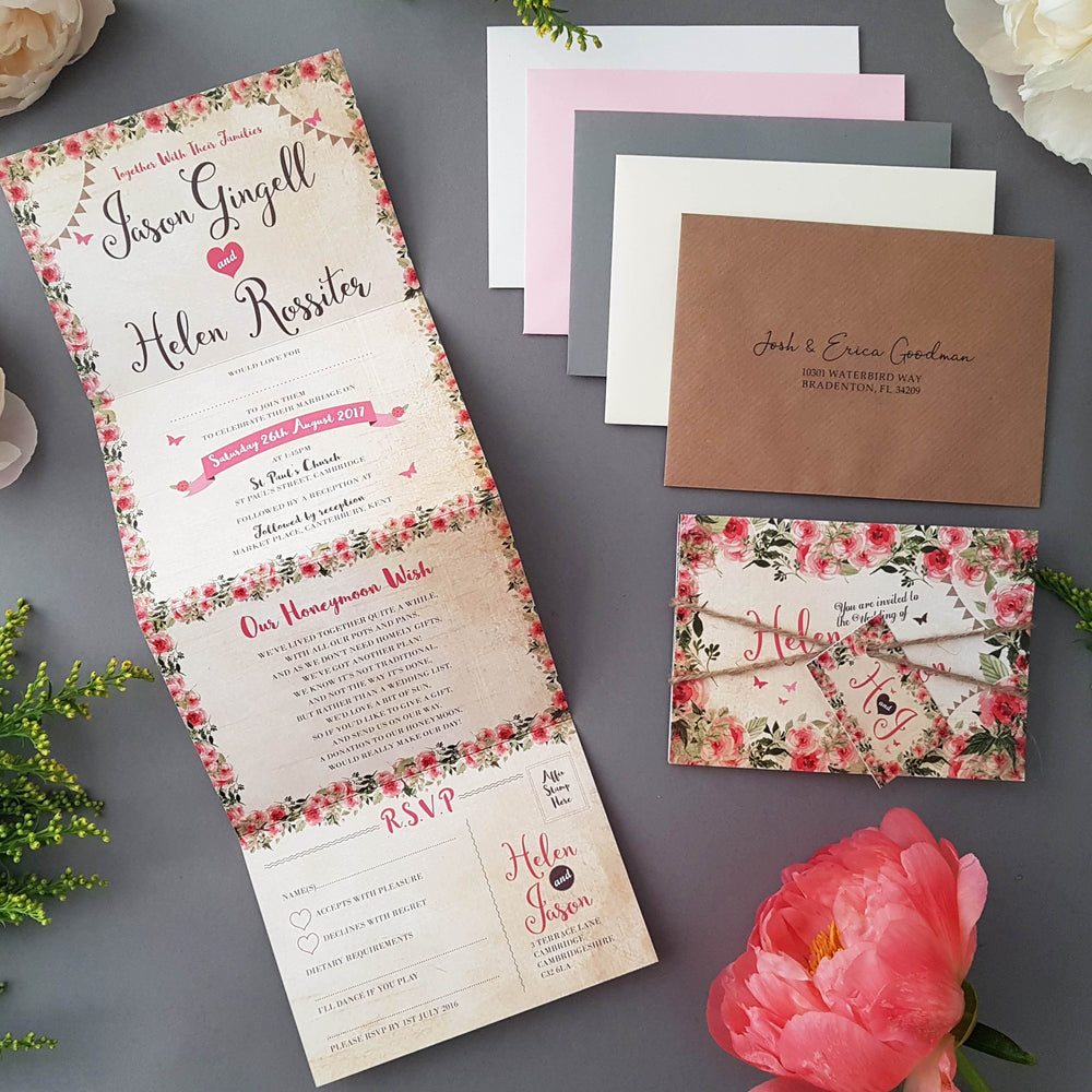 Cottage Wedding and Evening Invitation