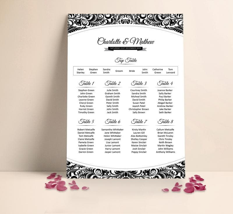 Curved Damask Wedding Table plan Seating Planner , Sienna Mai Personalised Wedding Invitations