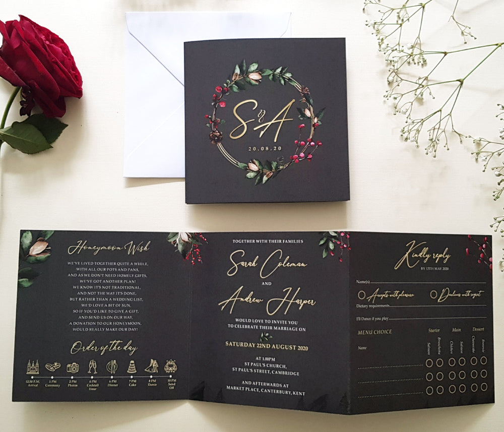 Dark Grey Winter Christmas Trifold Wedding Invitations