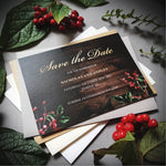Dark winter save the date cards , Sienna Mai Personalised Wedding Invitations