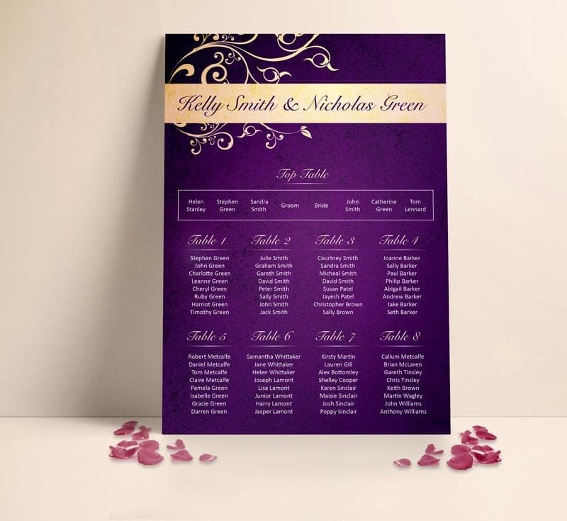 Deep Floral Wedding Table plan Seating Planner , Sienna Mai Personalised Wedding Invitations