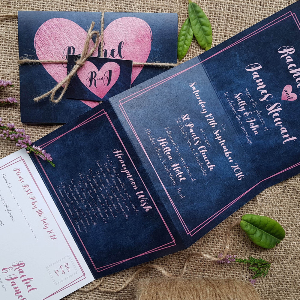 Denim Pink Heart Wedding Invitations