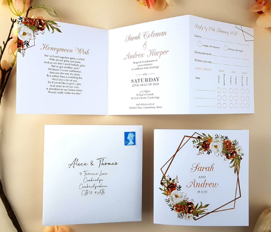 Autumn Fall Floral Trifold Wedding Invitations