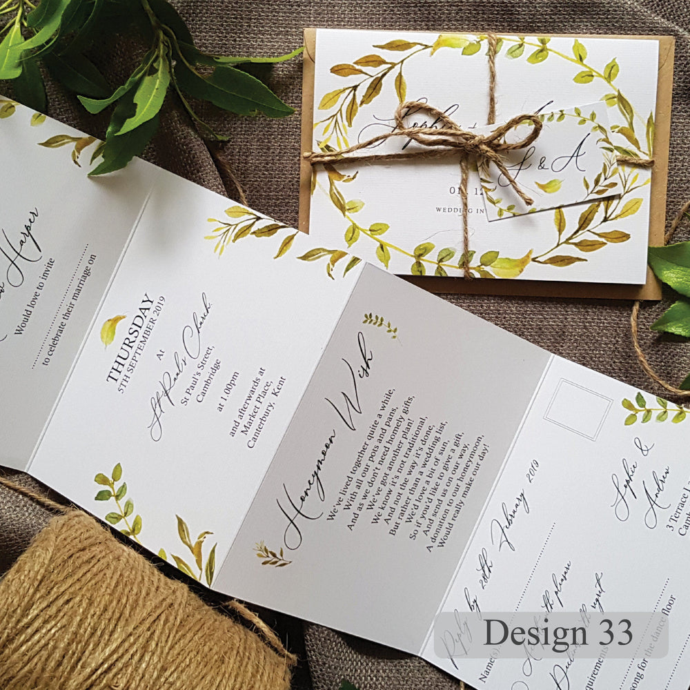 Eucalyptus , Sienna Mai Personalised Wedding Invitations