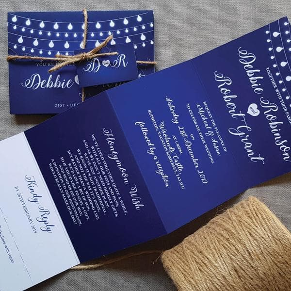 Fairy Lights  Concertina Wedding Invitations, Tag & Twine Sample