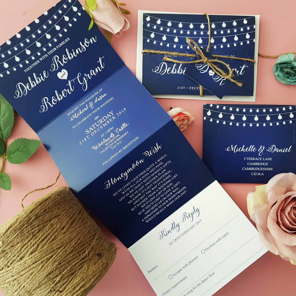 Fairy Lights , Sienna Mai Personalised Wedding Invitations