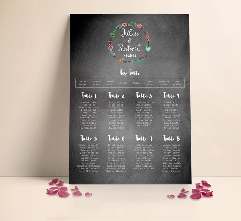 Floral Chalkboard Wedding Table plan Seating Planner , Sienna Mai Personalised Wedding Invitations