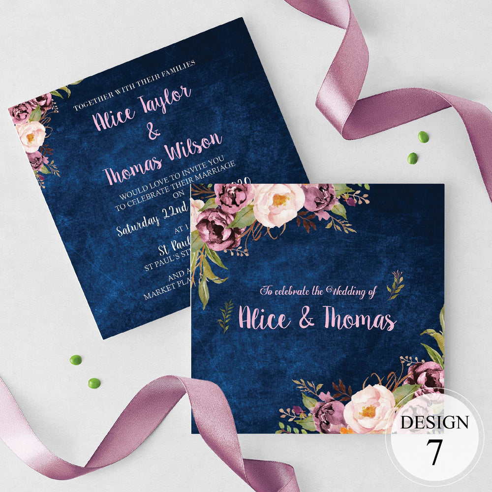 Floral Navy Wedding and Evening Invitation