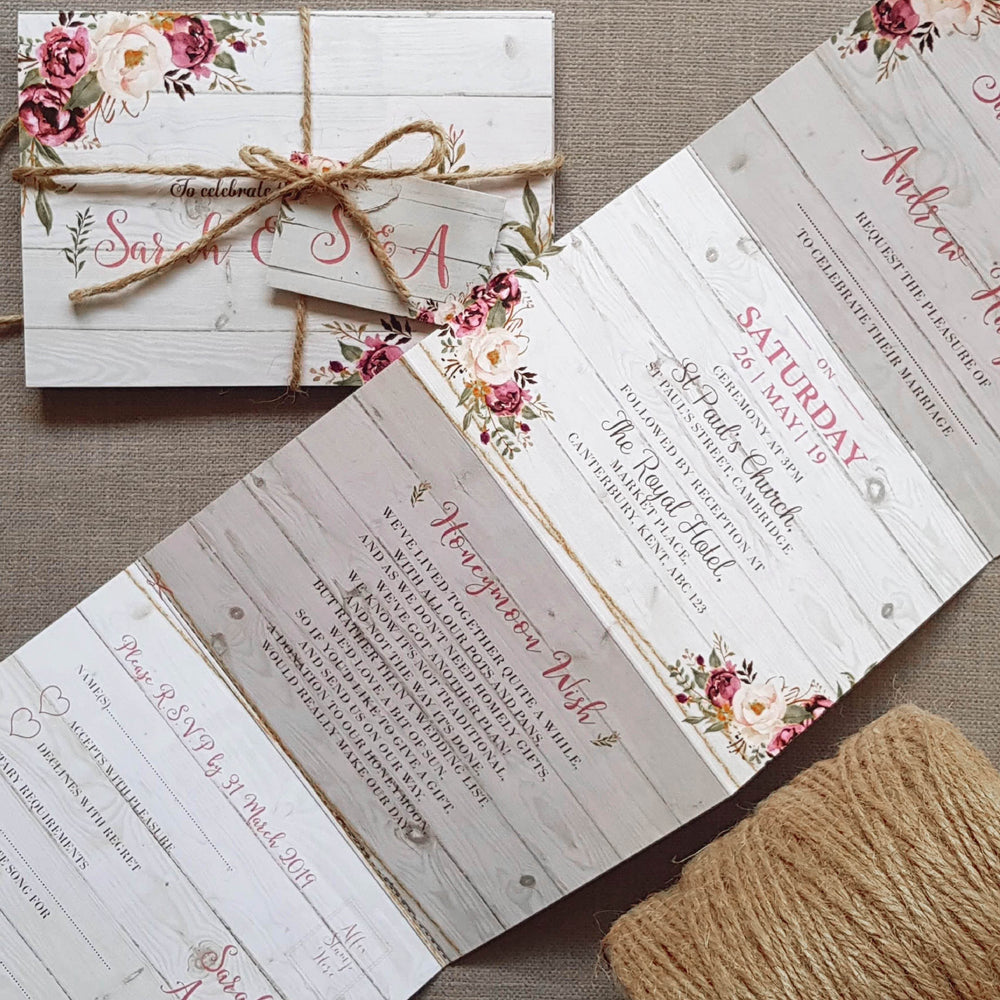 Floral On Wood Wedding and Evening Invitation