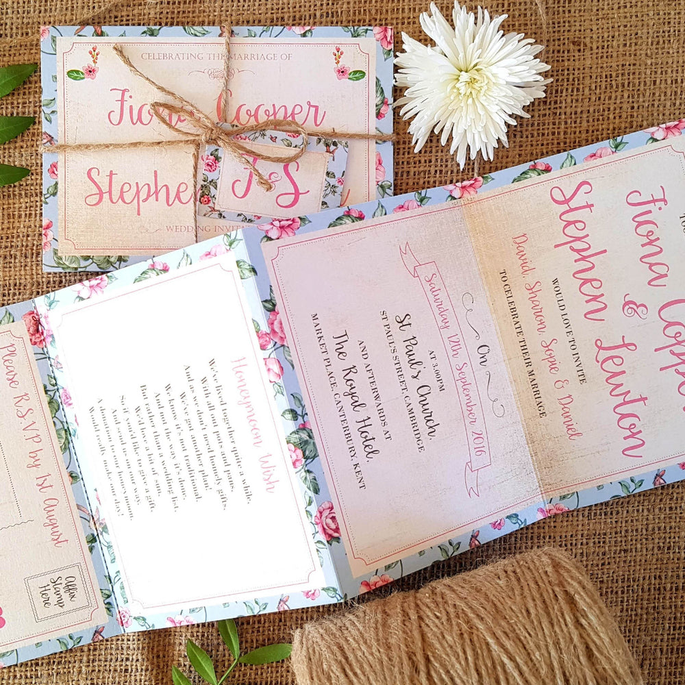 Floral Wedding and Evening Invitation