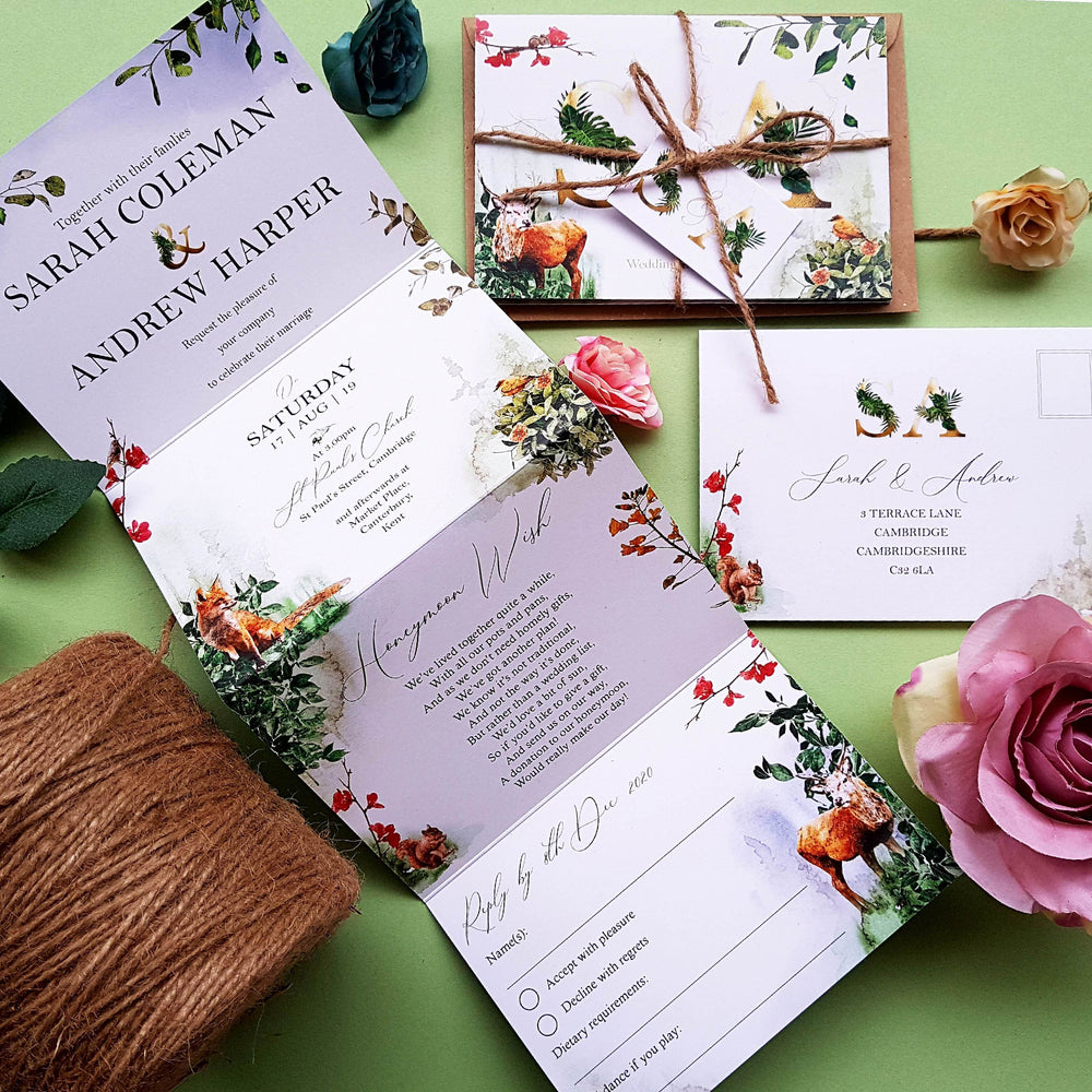 Forest Wedding and Evening Invitation