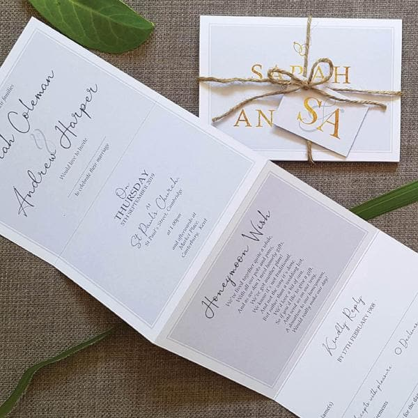 French Script Bleue & Gold , Sienna Mai Personalised Wedding Invitations