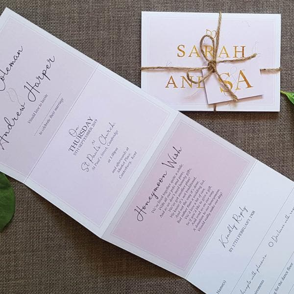 French Script Pink & Gold , Sienna Mai Personalised Wedding Invitations