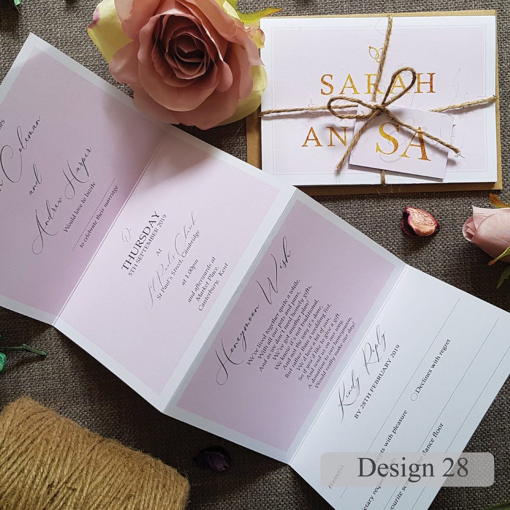 French Script Wedding and Evening Invitation