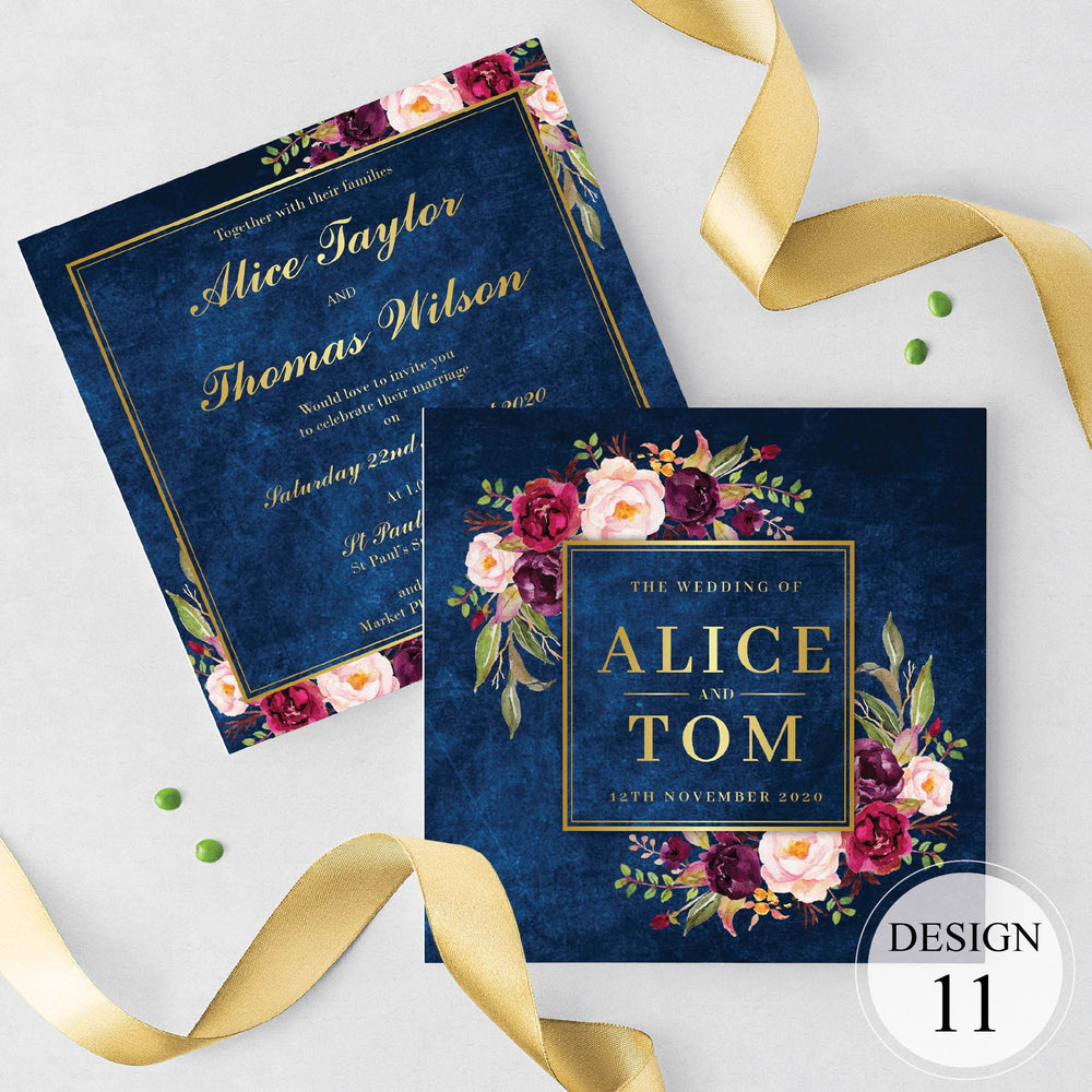 Gold Floral Wedding and Evening Invitation