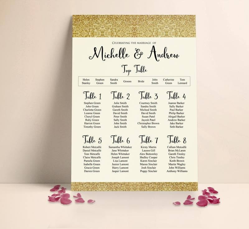Gold Sparkle Wedding Table plan Seating Planner , Sienna Mai Personalised Wedding Invitations