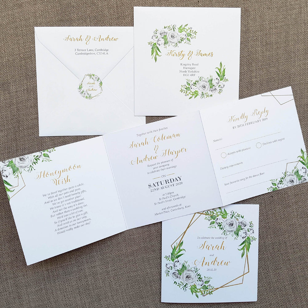 Gold White Roses Geometric Trifold Wedding Invitations