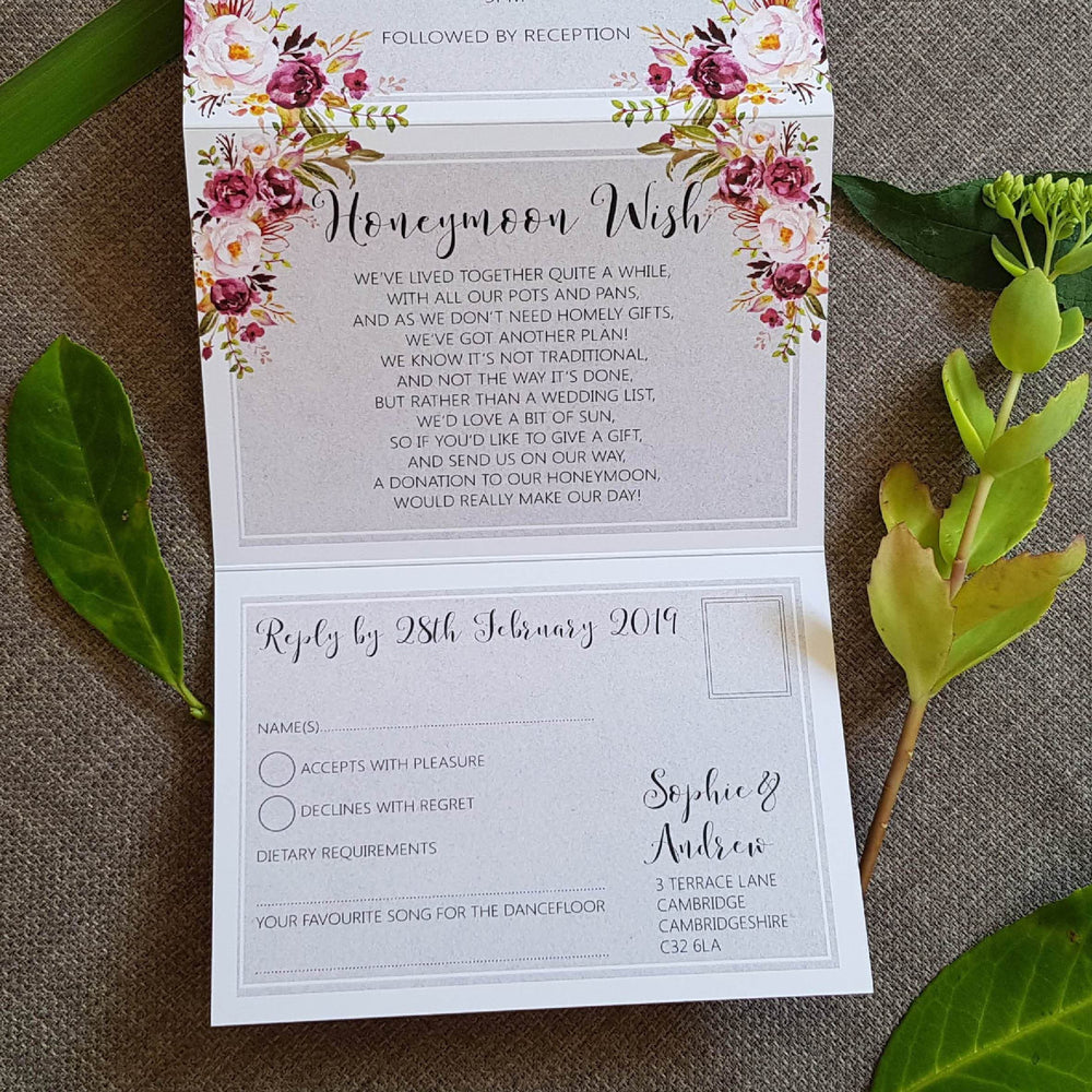 Grey Blush Floral Concertina Wedding Invitations , Sienna Mai Personalised Wedding Invitations