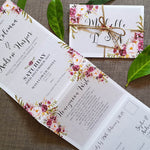 Grey Blush Floral Concertina Wedding Invitations