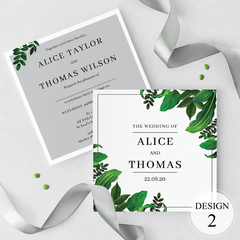 Grey Botanical Wedding Invitations