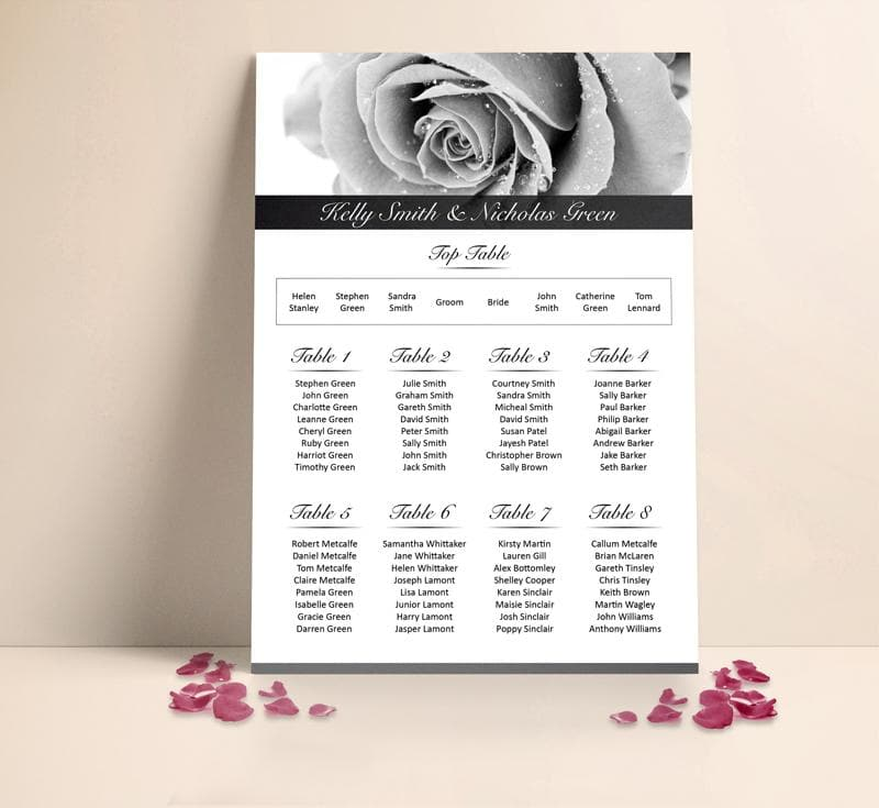 Grey Rose Table plan , Sienna Mai Personalised Wedding Invitations