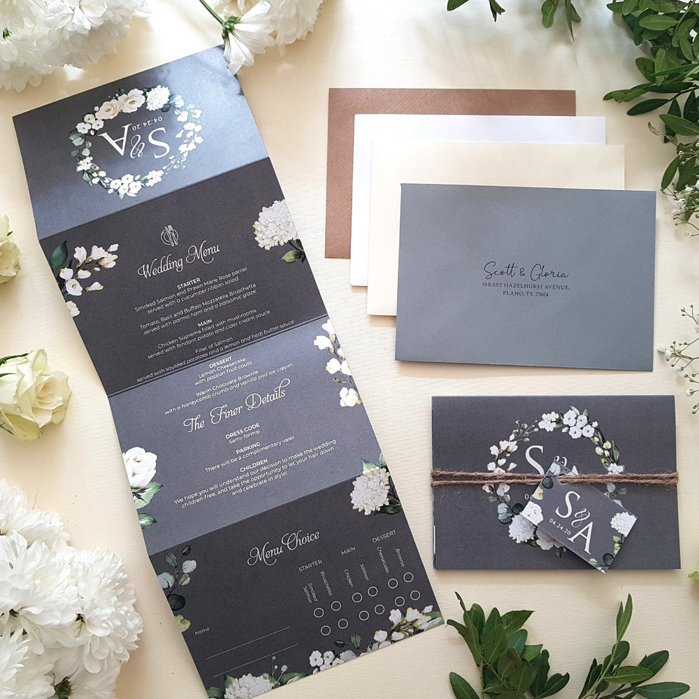 Grey & White Floral , Sienna Mai Personalised Wedding Invitations