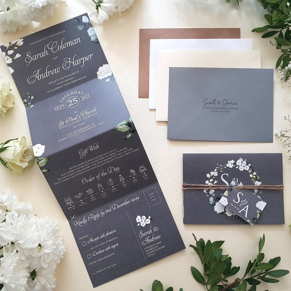 Grey & White Floral Wedding Invitations