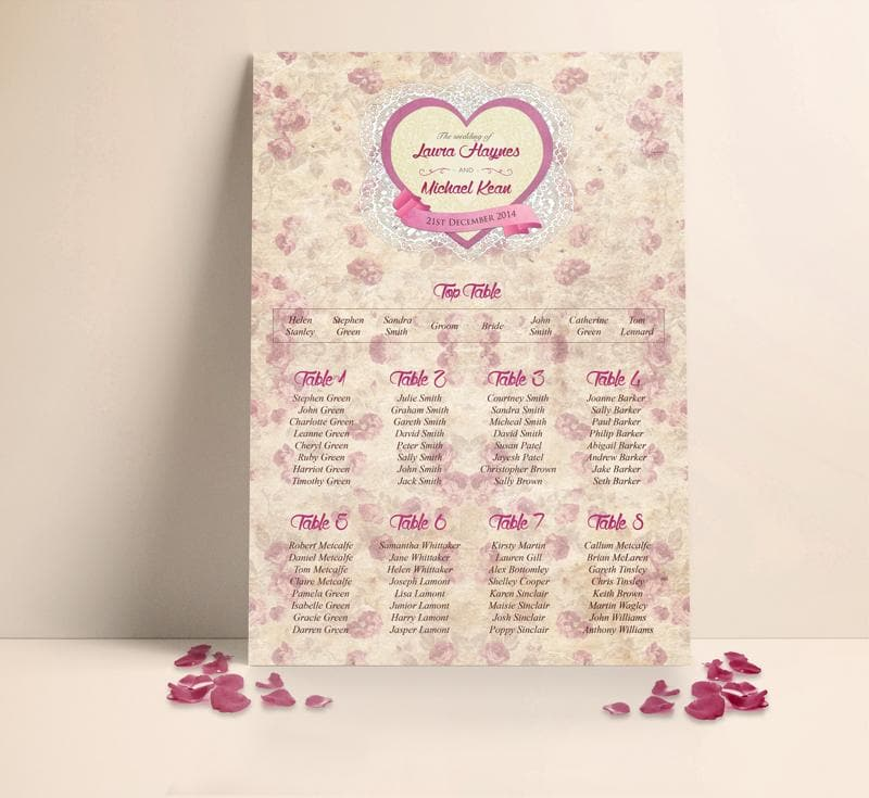 Heart Story Table plan , Sienna Mai Personalised Wedding Invitations