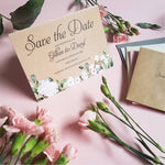 Kraft Blush floral save the date cards , Sienna Mai Personalised Wedding Invitations