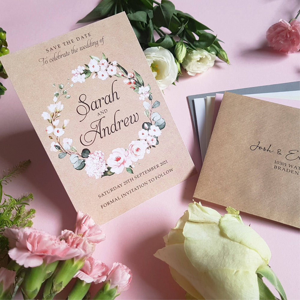 Kraft Blush floral save the date cards