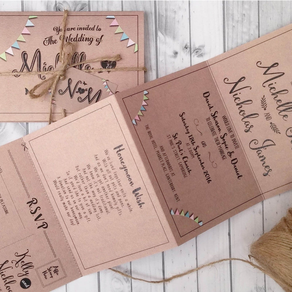 Kraft Bunting Vintage Wedding Invitations