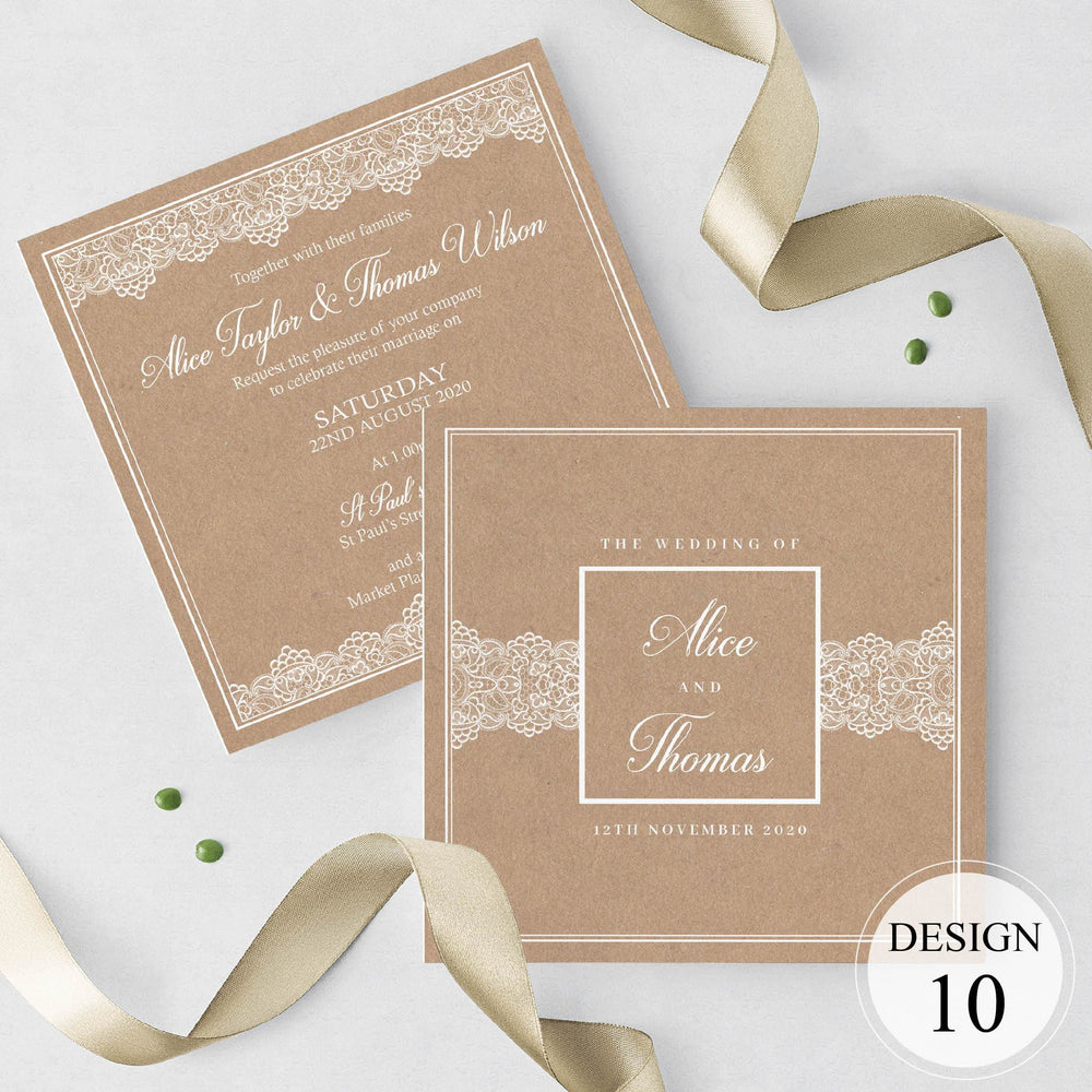 Kraft Lace Wedding Invitations