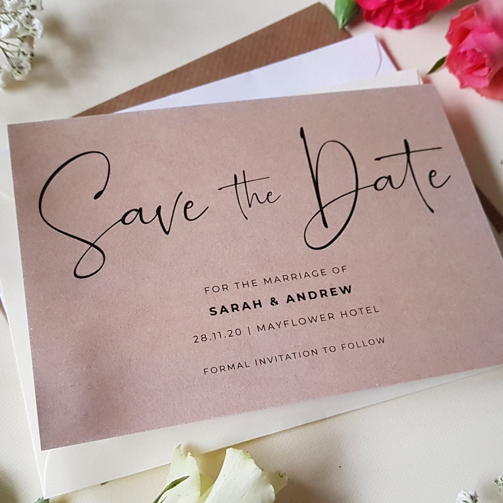 kraft save the date cards