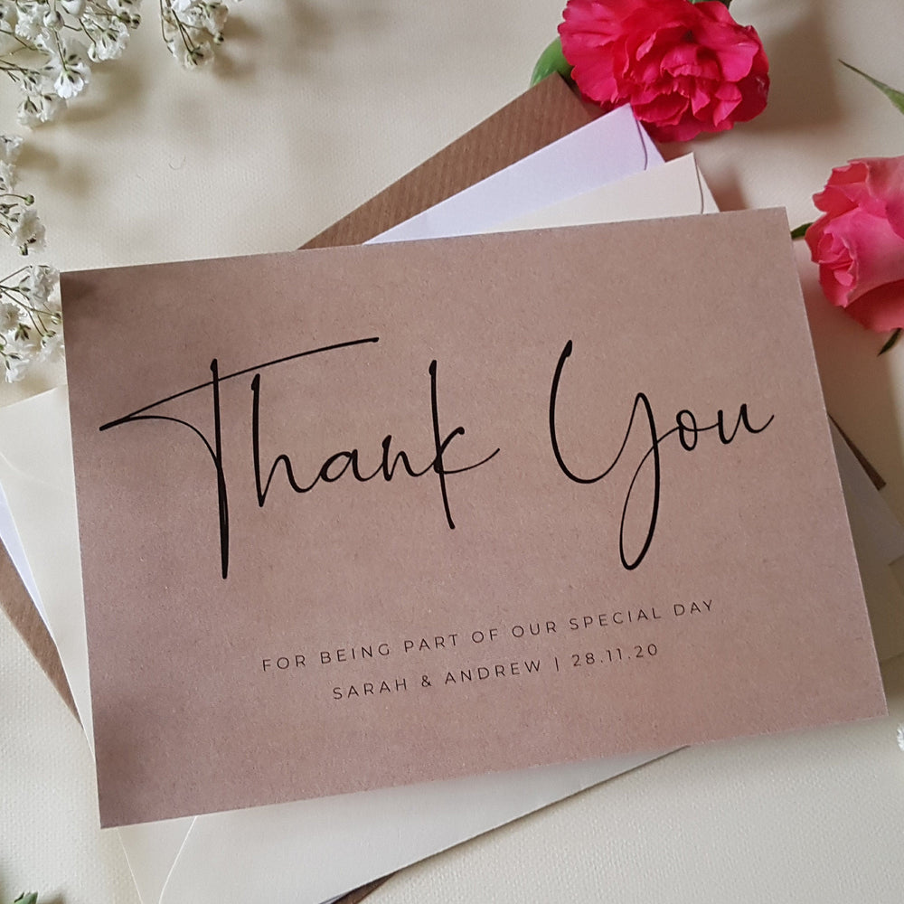 kraft Wedding Thank You Cards